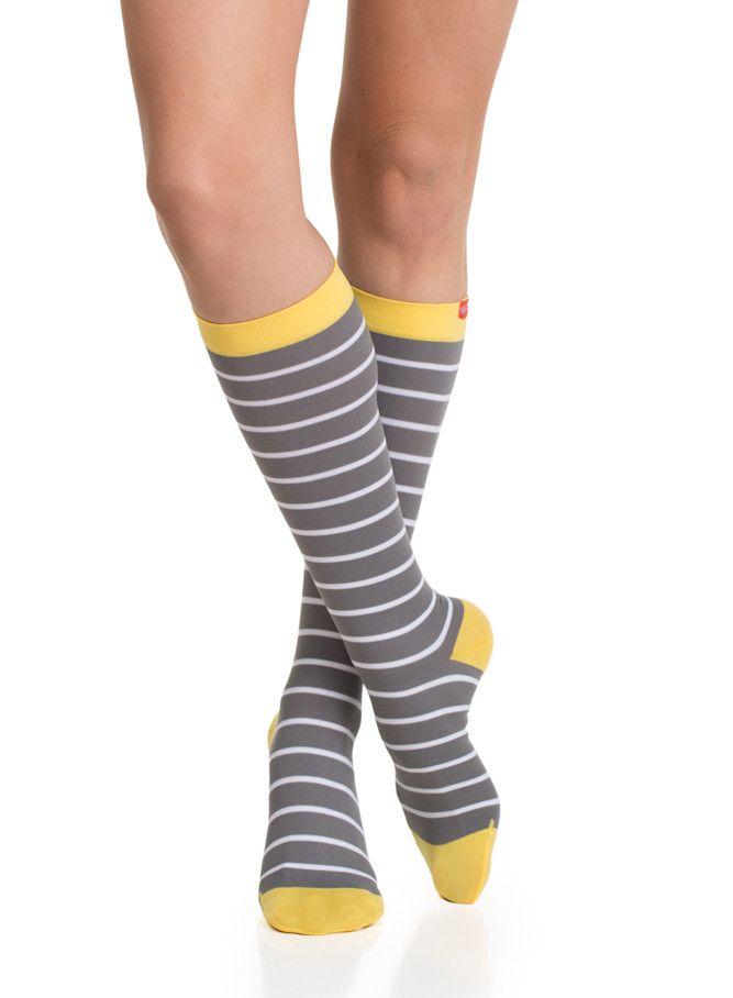 Women's striped yellow socks