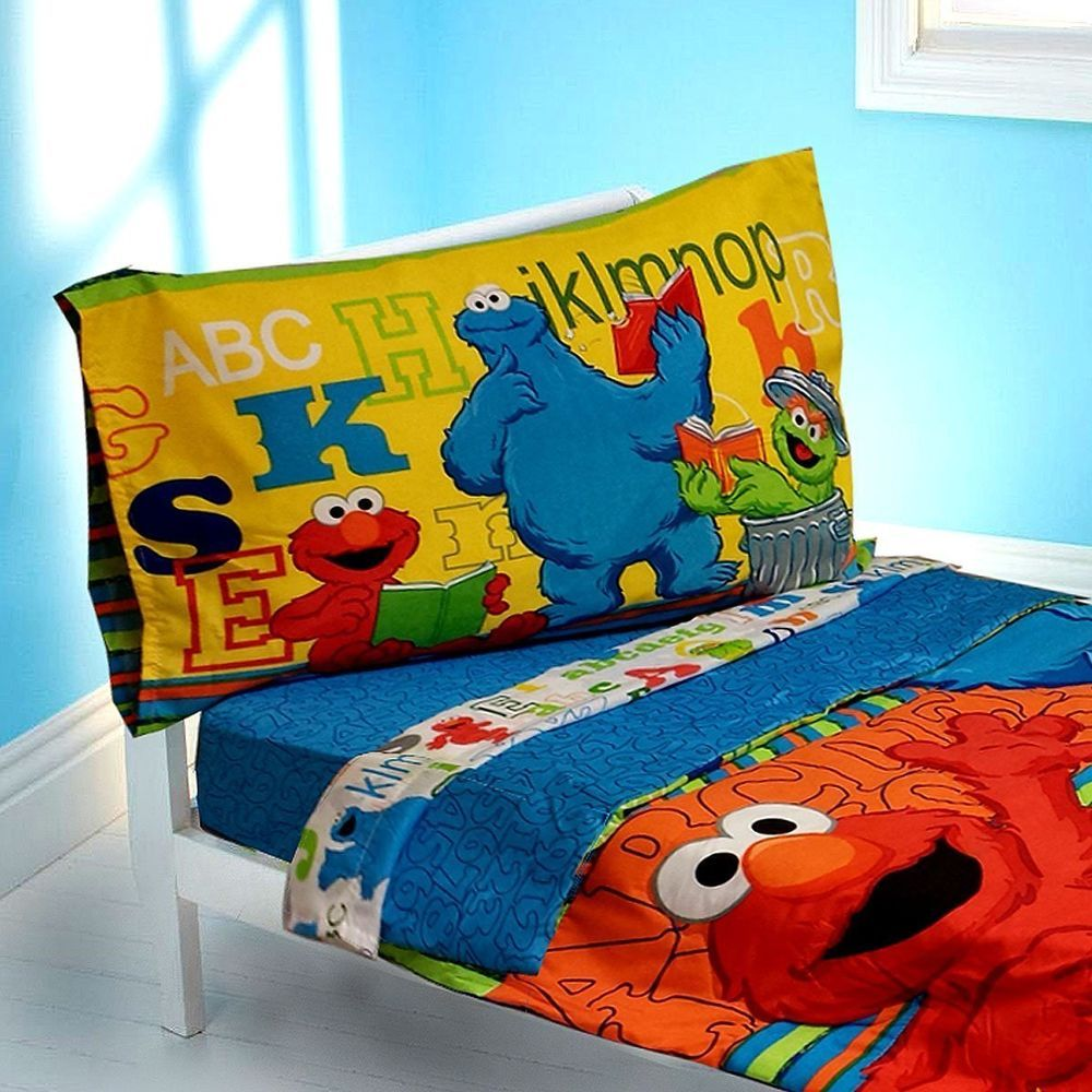 Sesame Street ABC 123 4 Piece Toddler Set Bedding Elmo TV Home Boys/Girls Decor #SesameStreet