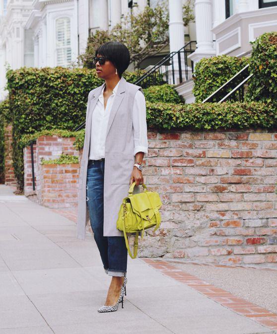 longline vest white oxford gray heels | 40plusstyle.com