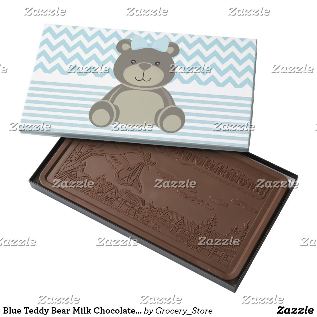 Blue Teddy Bear Milk Chocolate 2 Pound Bar Zazzle