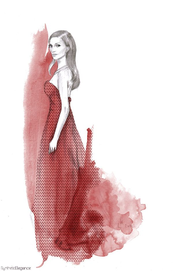 dior dress illustration by leia k