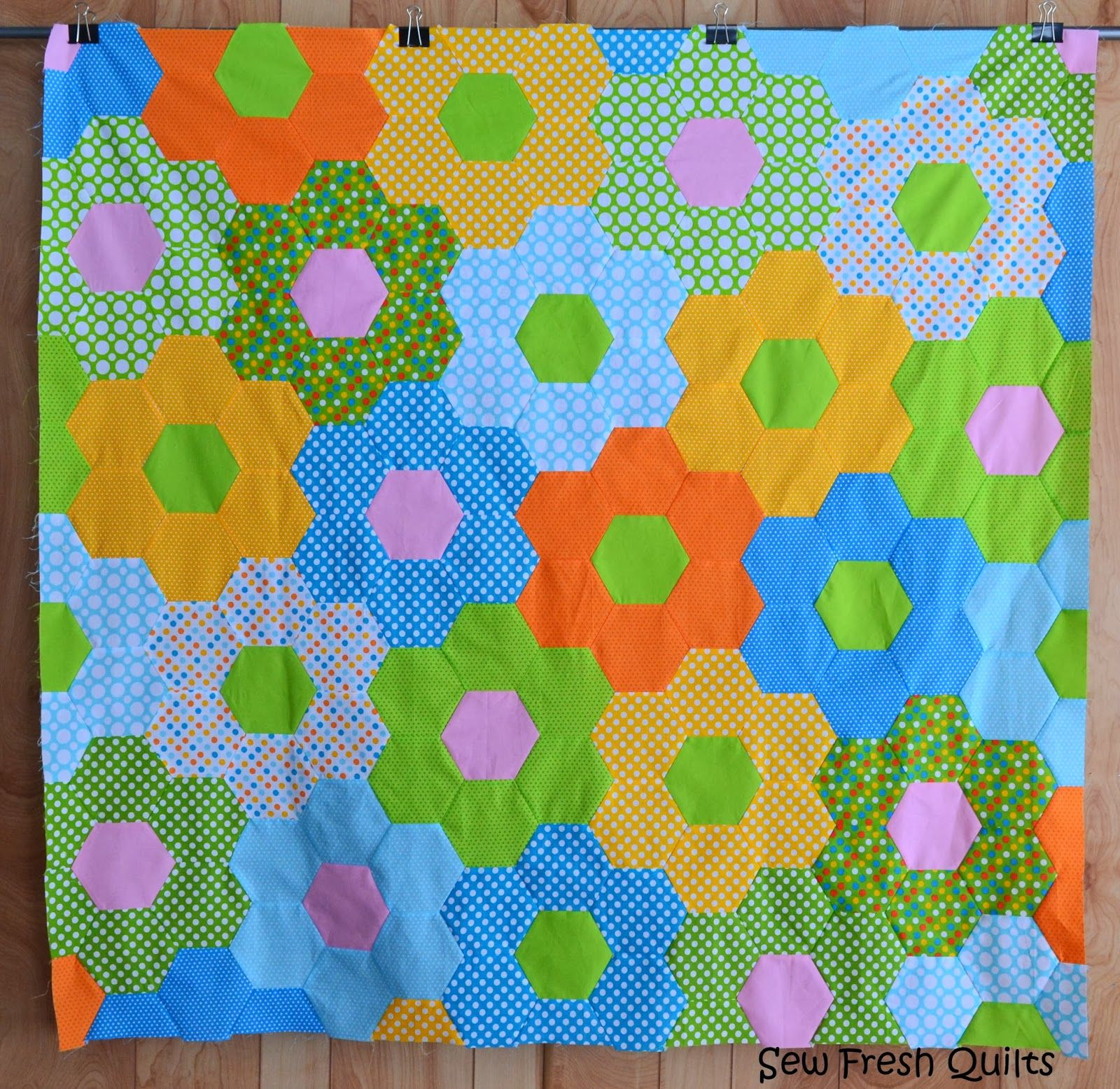 Sew Fresh Quilts Tutorial for Sewing Hexagons by Machine