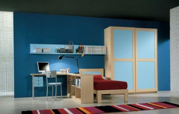 blaue-farbe-fürs-jugendzimmer- rote bettwäsche - Jugendzimmer ...