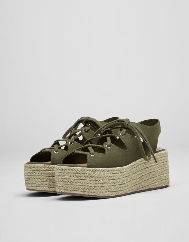 Green lace-up jute wedges - What s new - Shoes - Woman - PULL BEAR United  Arab Emirates 9f86aa8456