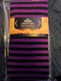 Girls NEW tights purple black stripes 7-10 SHIP INCLUDED $6.50 SHIPPED