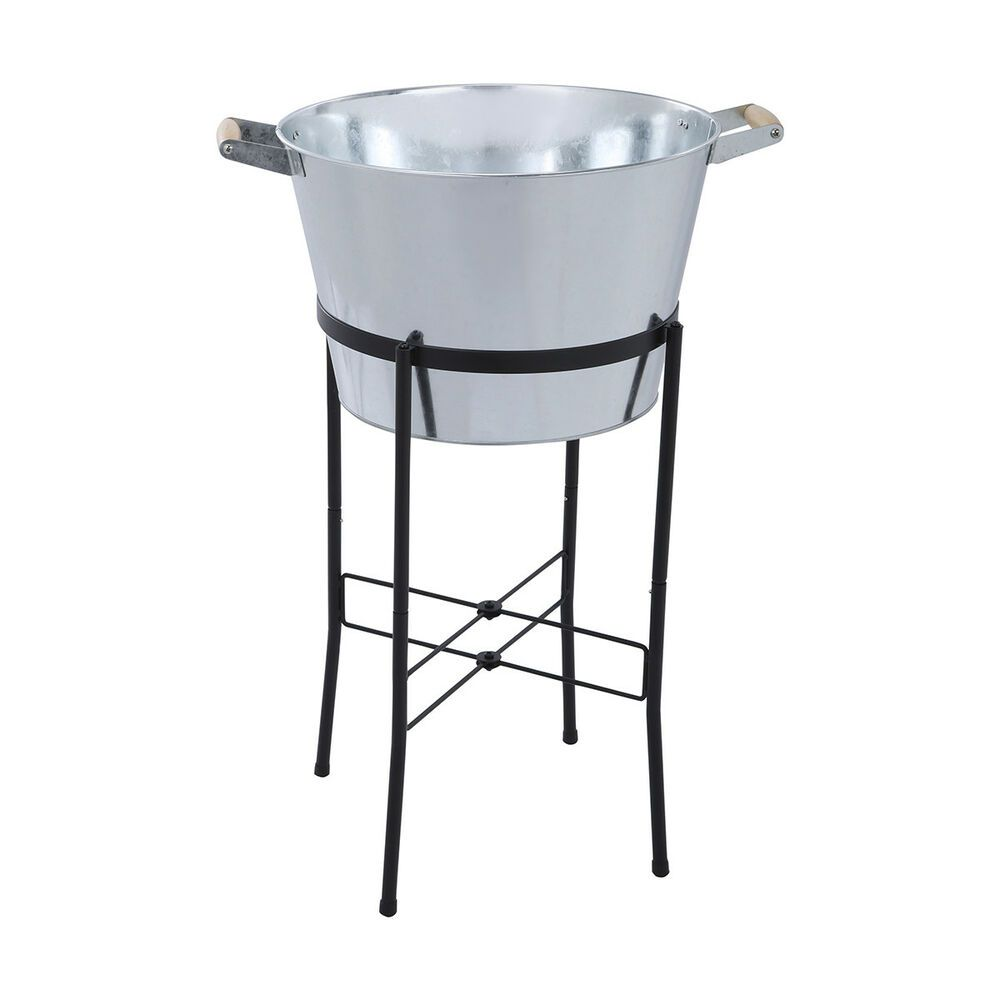 Galvanised Tub With Stand Chilled Drink Cooler Ice Bucket Beverage