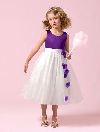 White and cadbury purple flower girl dress