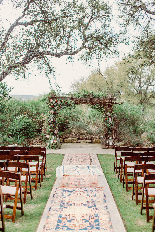 Boho Rug Aisle for Wedding Ceremony Vista West Ranch in