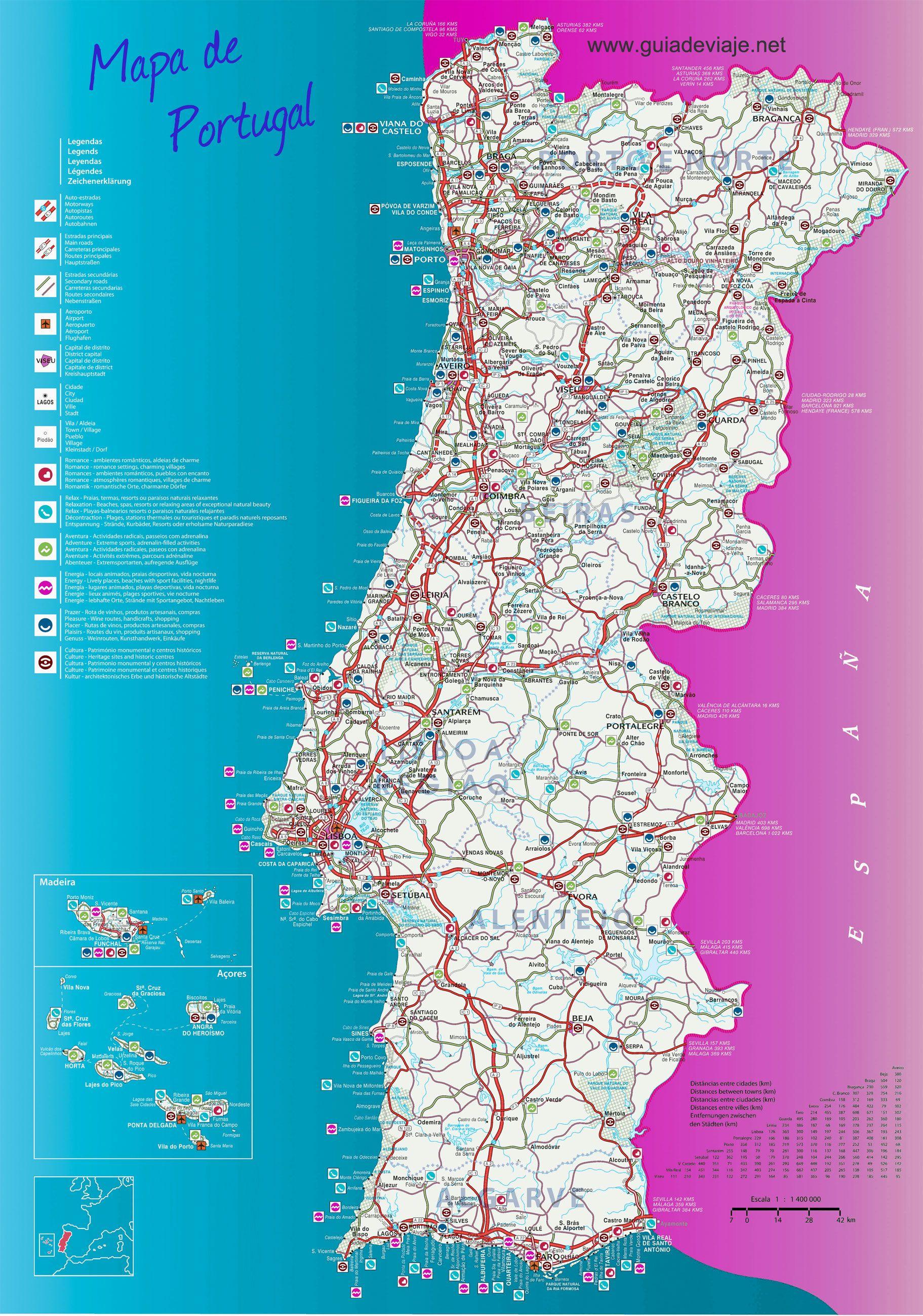 Mapa De Portugal Completo.Mapa De Portugal Completo Mapa Em 2019 Mapa De Portugal