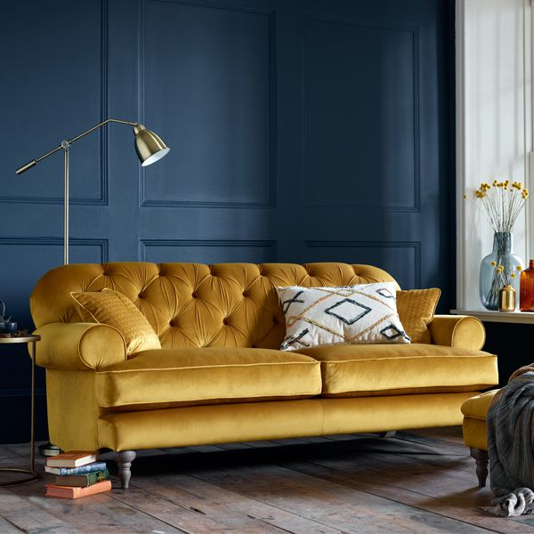 Mia Velvet Sofa In Saffron Gold With Button Back Design Velvetsofa Velvet Buttonsofa Velvet Sofa Living Room Gold Sofa Gold Couch