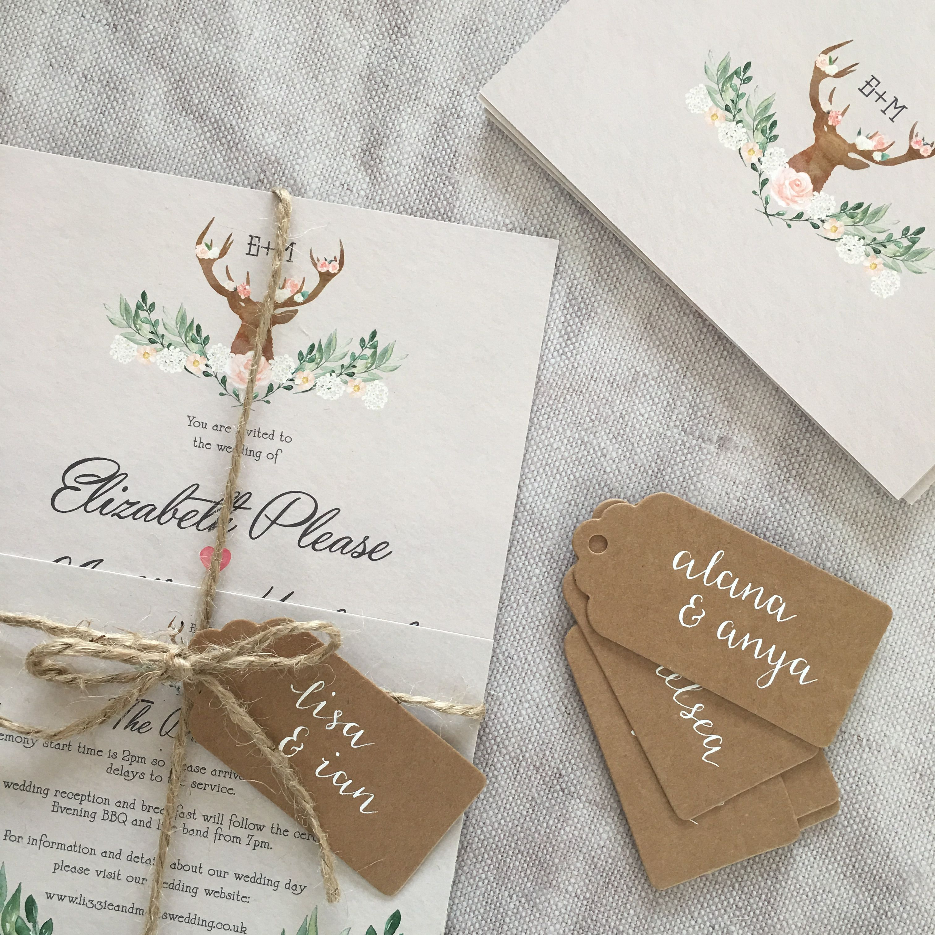 Bohemian Forest Country Wedding Invitation Design Complete With
