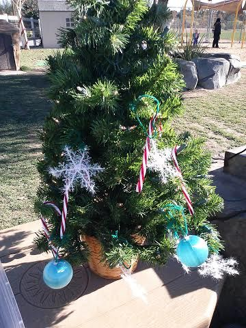 Christmas tree fun outdoors~great fine motor skills while celebrating the Christmas season!