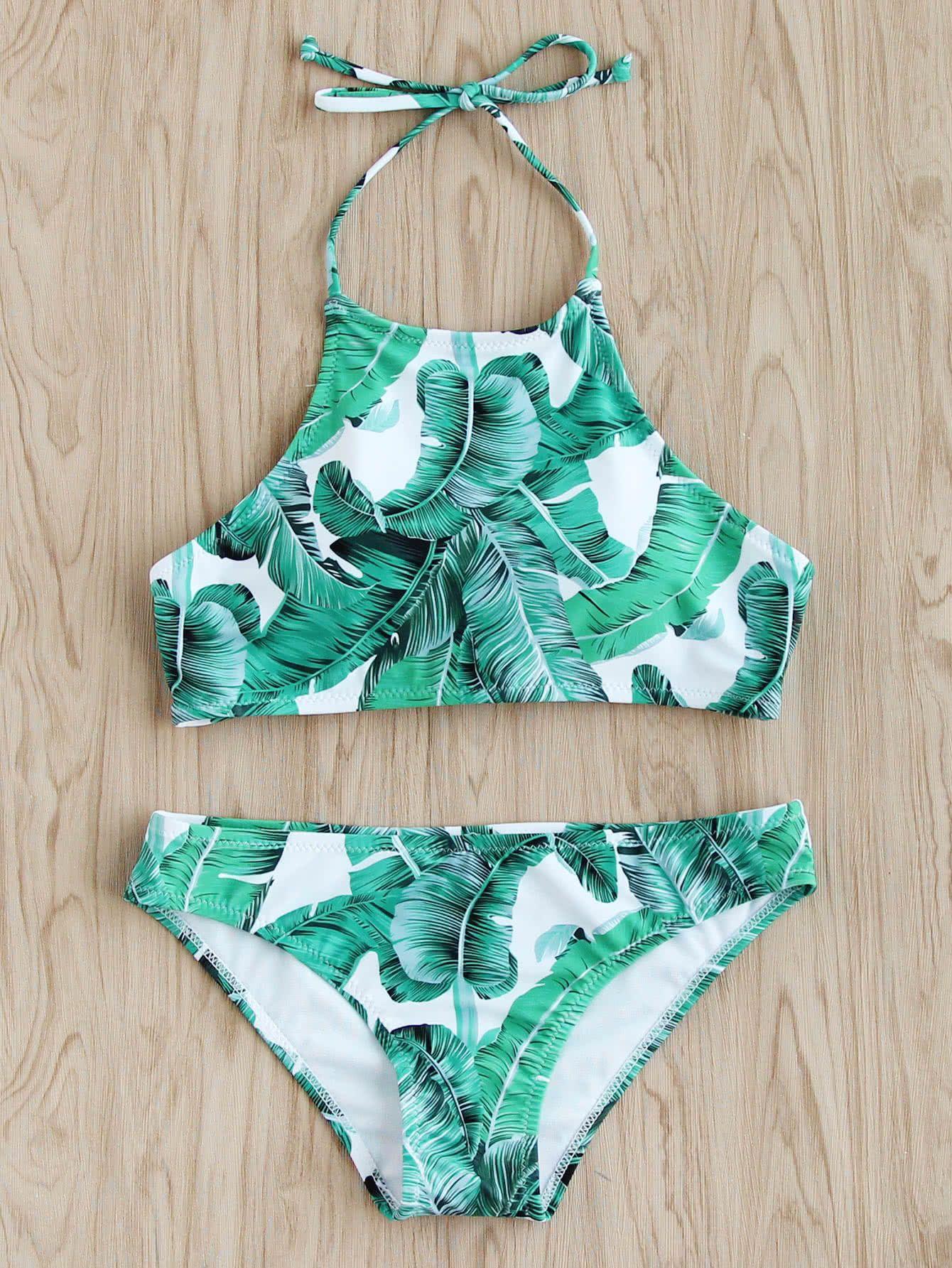 24dc08ee811 Jungle Print Halter Bikini Set in 2019 | Shein and Romwe :) | Girls ...