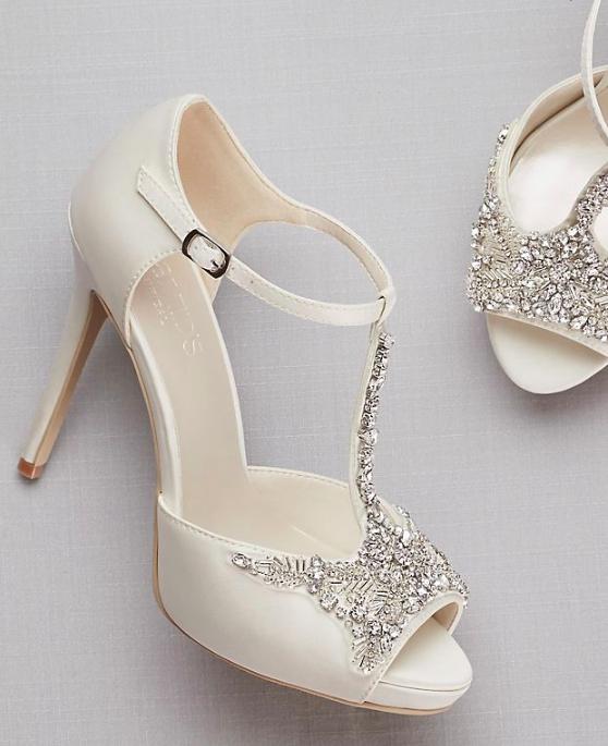 Brand New Crystal T Strap Satin Peep Toe Platform Heels Ivory Size 7 Wedding Shoes Platform Wedding Shoes Pumps Bridal Shoes