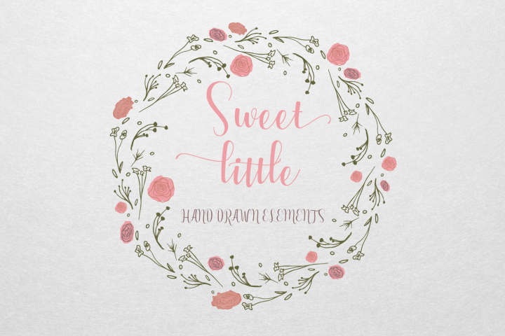 Sweet Little Hand Drawn Elements from DesignBundles.net