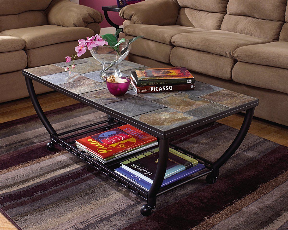 Ashley Furniture Signature Design Antigo Coffee Table Slate Top With Metal Bottom Cocktail Height Contemporary Black Slate Top Coffee Table Rectangular Coffee Table Coffee Table