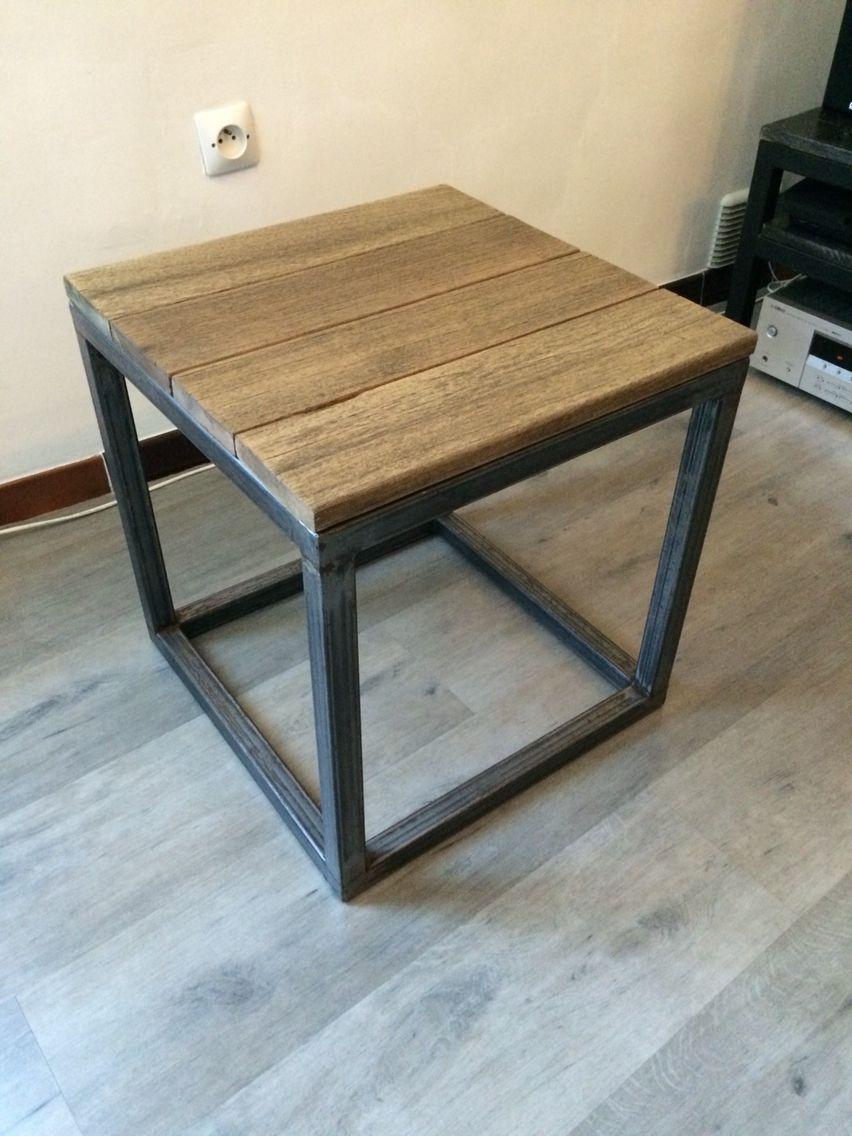 Table Dappoint Bois Et Métal 45x45x47cm Diy Furniture Pinterest