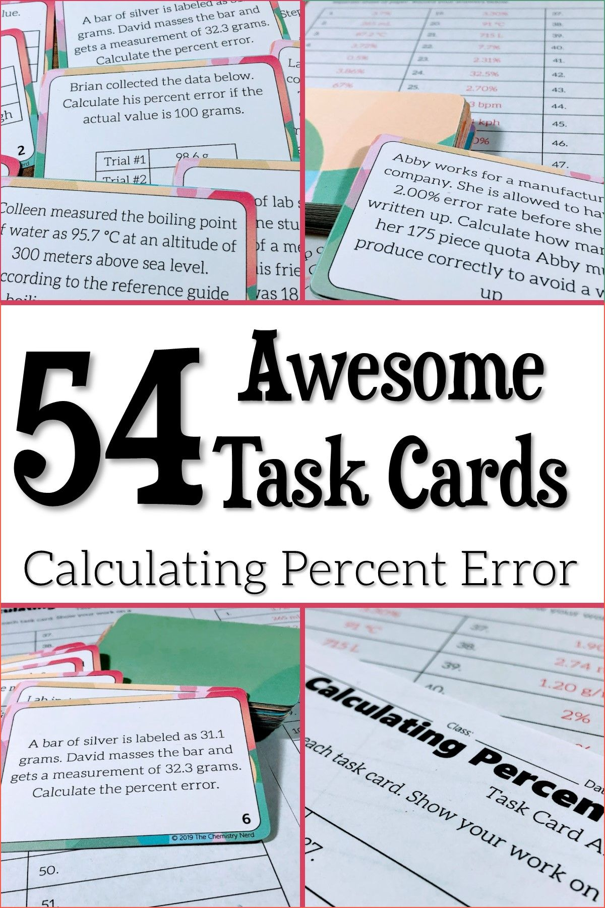54 Awesome Task Cards Calculating Percent Error Task Cards Learning Stations Science Student