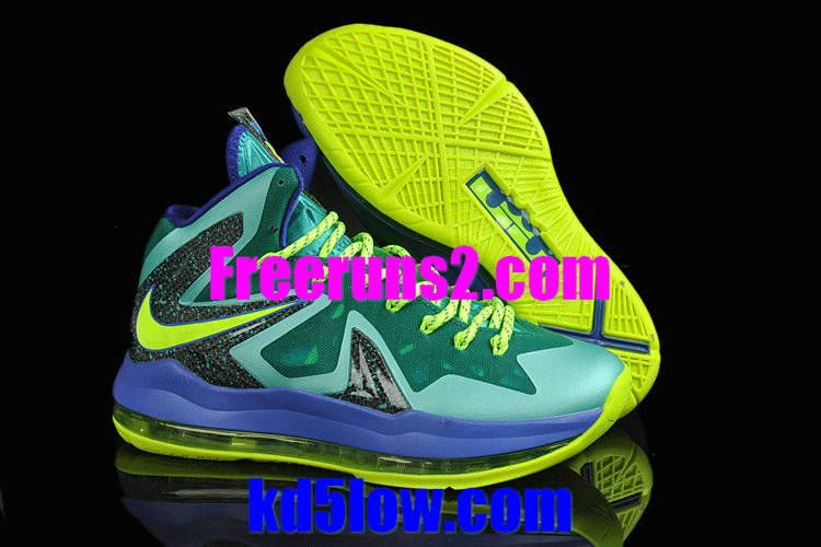 Nike Basketball Shoes 2013 Lebron 10 Elite turquoise royal Green Blue  Yellow and Black and 579827