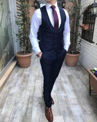 de11afe72c7c6 Terziademaltun - İtalyan stil erkek ceket yelek pantolon koyu lacivert takım  elbise T3352 (1)