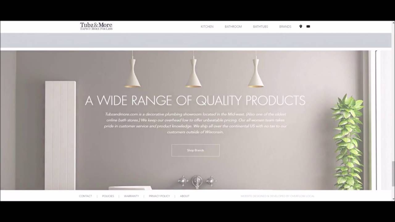 Tubz And More Custom Ecommerce Web Design By Overflow Local Web Design Portfolio Web Design Ecommerce Web Design