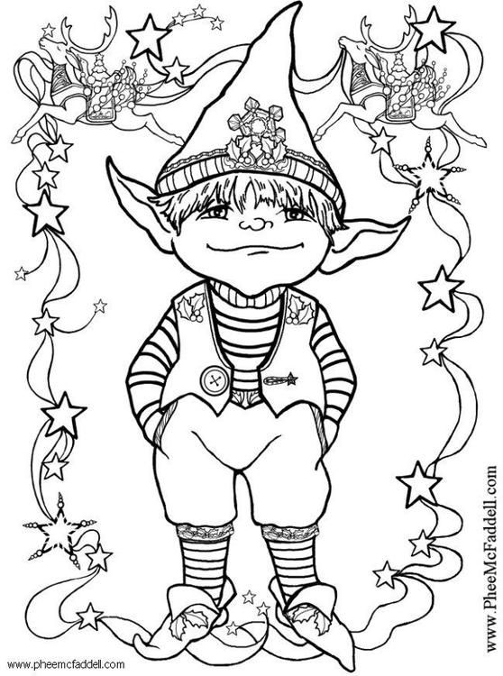 Coloring Page Little Elf Img 6107 Coloring Pages Coloring Books Christmas Coloring Pages