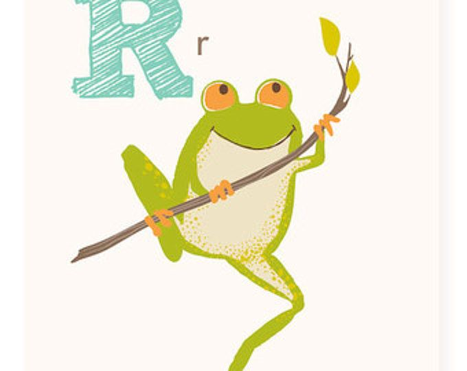ABC card, R is for Red-eyed treefrog, frog, ABC wall art, alphabet ...