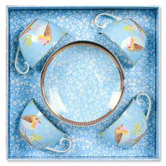 Early Bird Blue Cappuccino Cup & Saucer Set of 4 PIP51004008