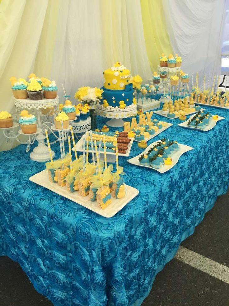Beautiful Rubber Duck Look with Aqua Rosette Tablecloth and Yellow Drapes -