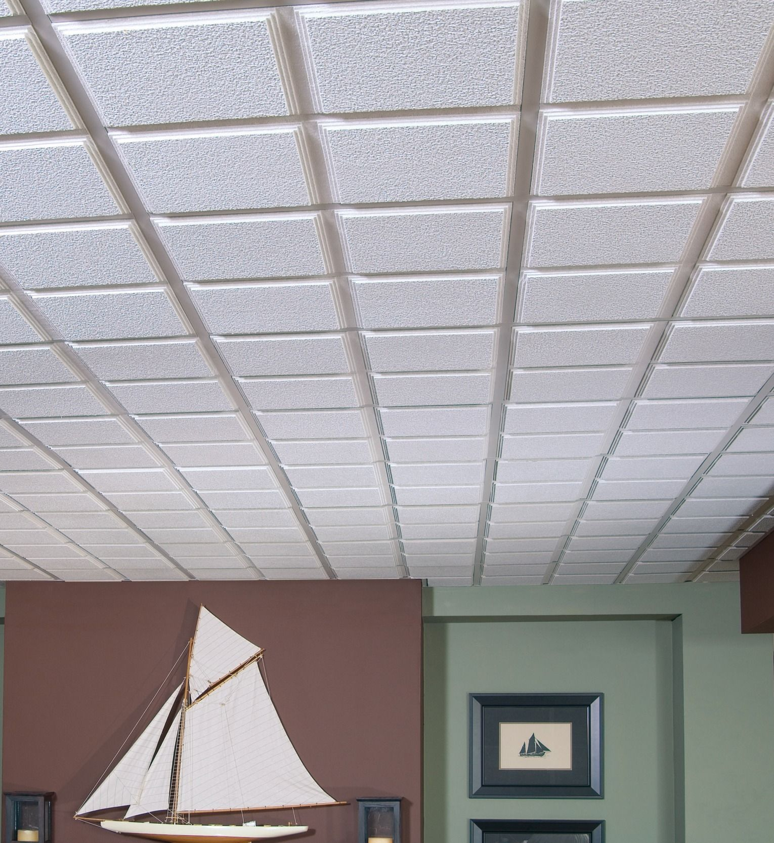 Dress Up Your Drop Ceiling Not Only Will Casade Tegular Drop Ceiling Tiles Conceal Unsightly Wiring But Th Armstrong Ceiling Basement Ceiling Dropped Ceiling