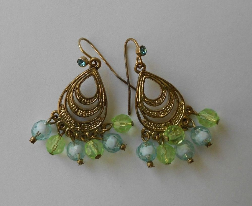 Fashion earrings green faceted beads gold toned teardrop chandelier fashion earrings green faceted beads gold toned teardrop chandelier drop dangle arubaitofo Choice Image