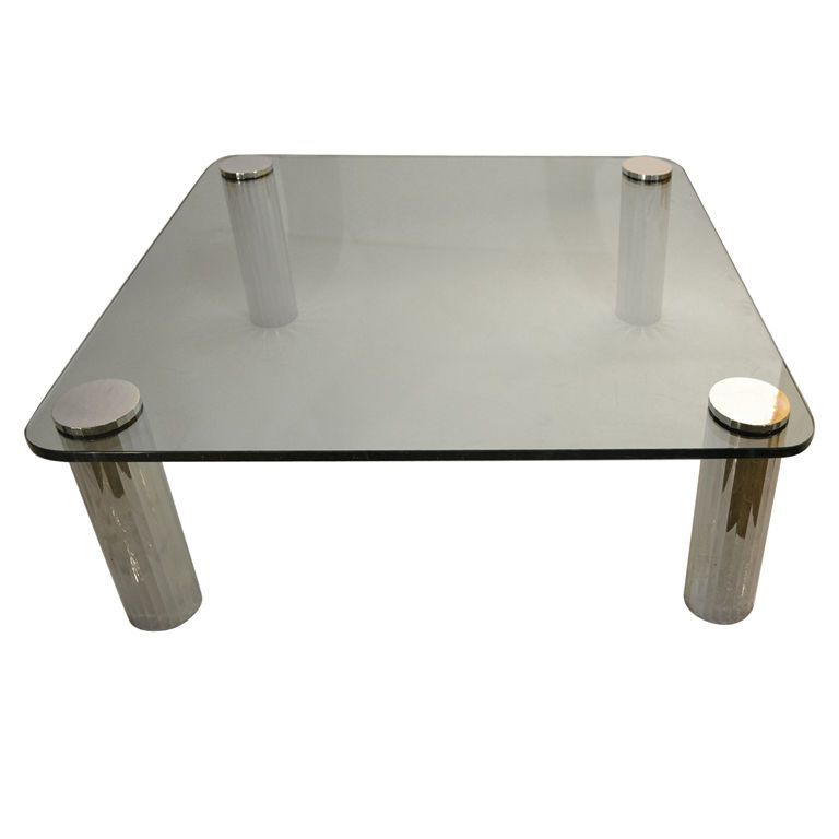 Thick Glass Top Coffee Table With Chrome Tube Legs Glass Top