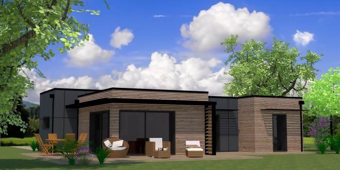 maison bois arcadial plein pied claire voie panneaux composites