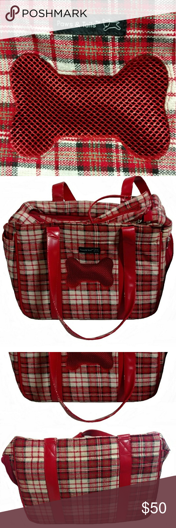 Pet carrier tote shoulder bag cute red u white plaid carrier has