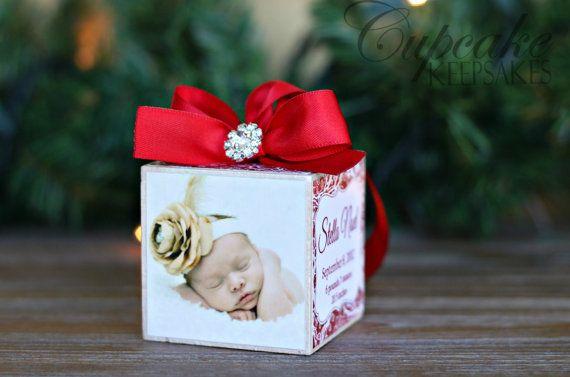 No.21 Navidad Rhinestone bebé niña personalizadas foto bloque ornamento