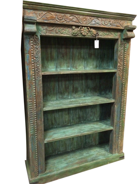 Antique Bookshelf Floral Hand Carved Indian 4 Shelf Green