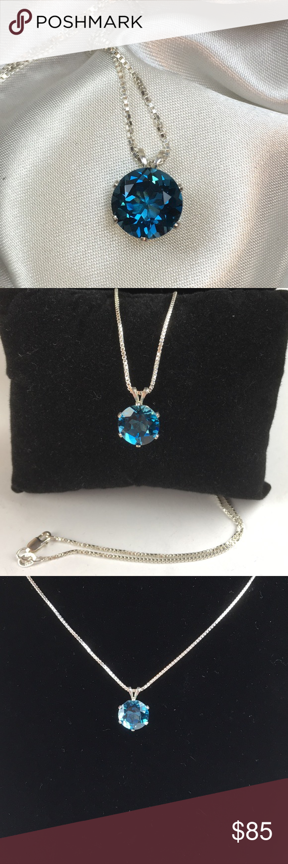 """💙Genuine London Blue Topaz Pendant💙 This London Blue Topaz is 10mm round, and is 8.5 cts set in a 14K White Gold Setting. It comes with an 18"""" .925 Sterling Silver Box Chain. A very beautiful gemstone 💎 Jewelry Necklaces"""