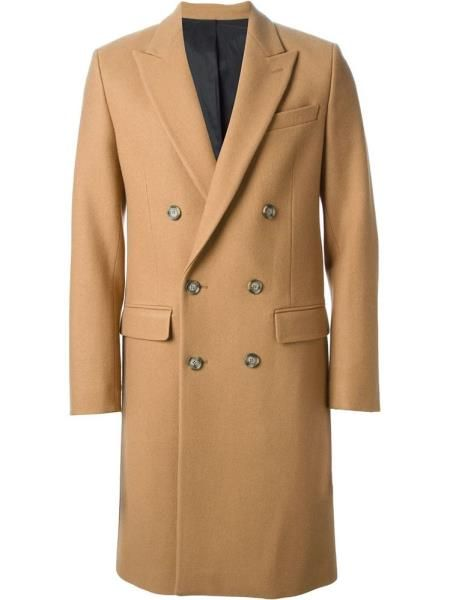 Cashmere Double Breasted Long Topcoat Peacoat Overcoats Outerwear Wide Peak  Lapel 6 Buttons Camel ~ Khaki 50d9f47f6bfb