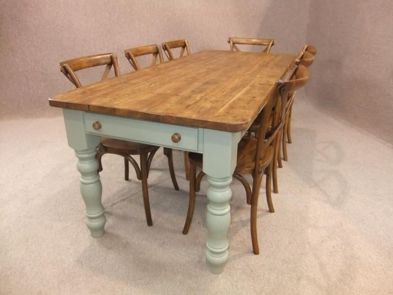 4FT RECLAIMED PINE FARMHOUSE KITCHEN TABLE WITH A PAINTED BASE WINCHCOMBE In Antiques Antique Furniture