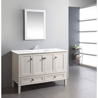 Windham Soft White 48 Inch Bath Vanity With 2 Doors Bottom Drawer And Quartz Marble Top 808