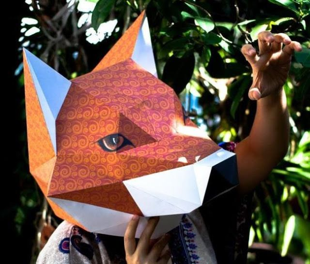 PAPERMAU: Wearable And Decorative Fox Head Mask Paper Model - by Mookeep