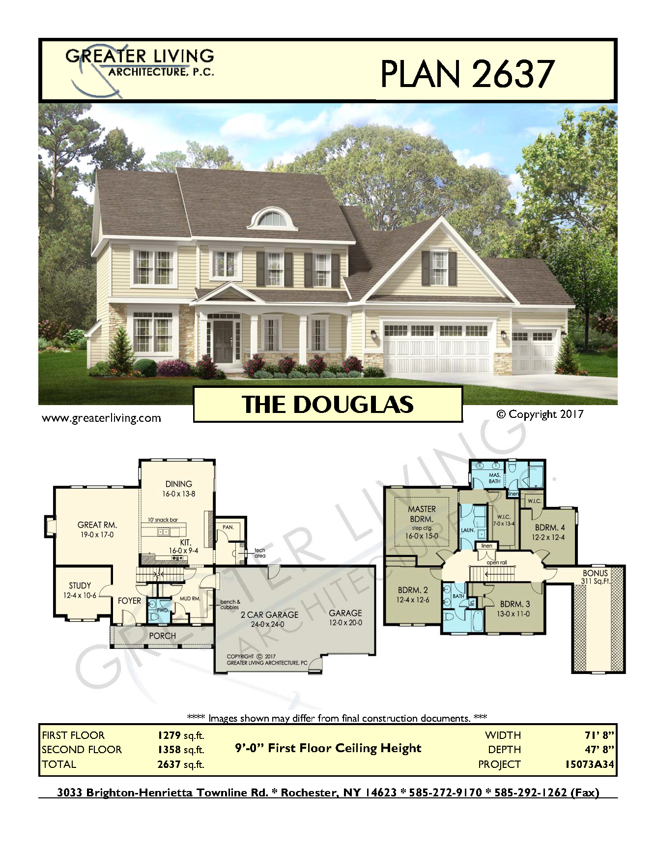 Plan 2637: THE DOUGLAS- Two Story House Plan - Greater Living ...