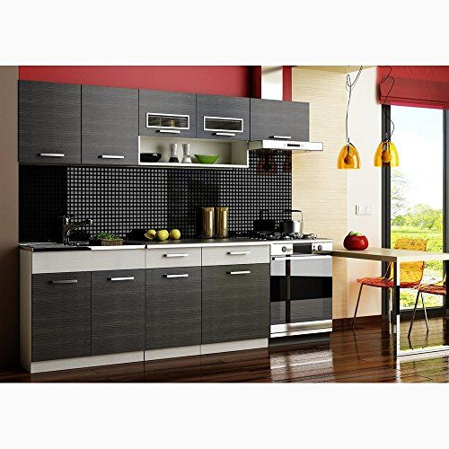 Justyou Moreno Cuisine Equipee Complete Couleur Noir Aluminium Meuble Cuisine Meuble Cuisine Pas Cher Cuisine Moderne