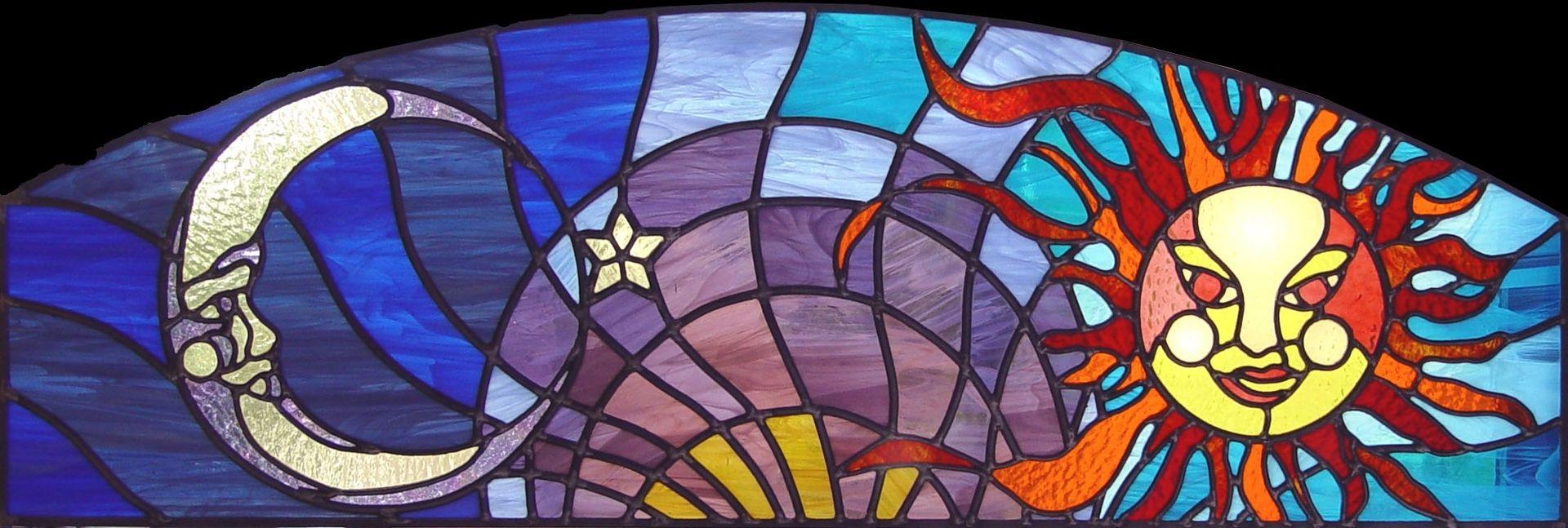 Custom made celestial stained glass transom window for Custom transom windows