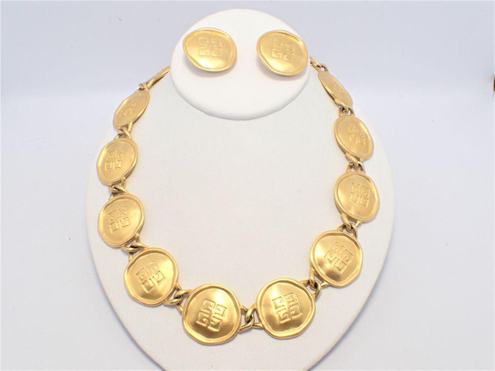 Vintage Givenchy Coin Logo Satin Gold Tone Finish Necklace