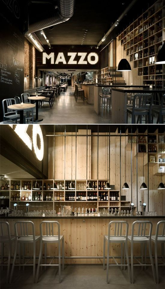 Restaurant Kitchen Wall Finishes mazzo wine bar interior design | raw wood finishes with industrial