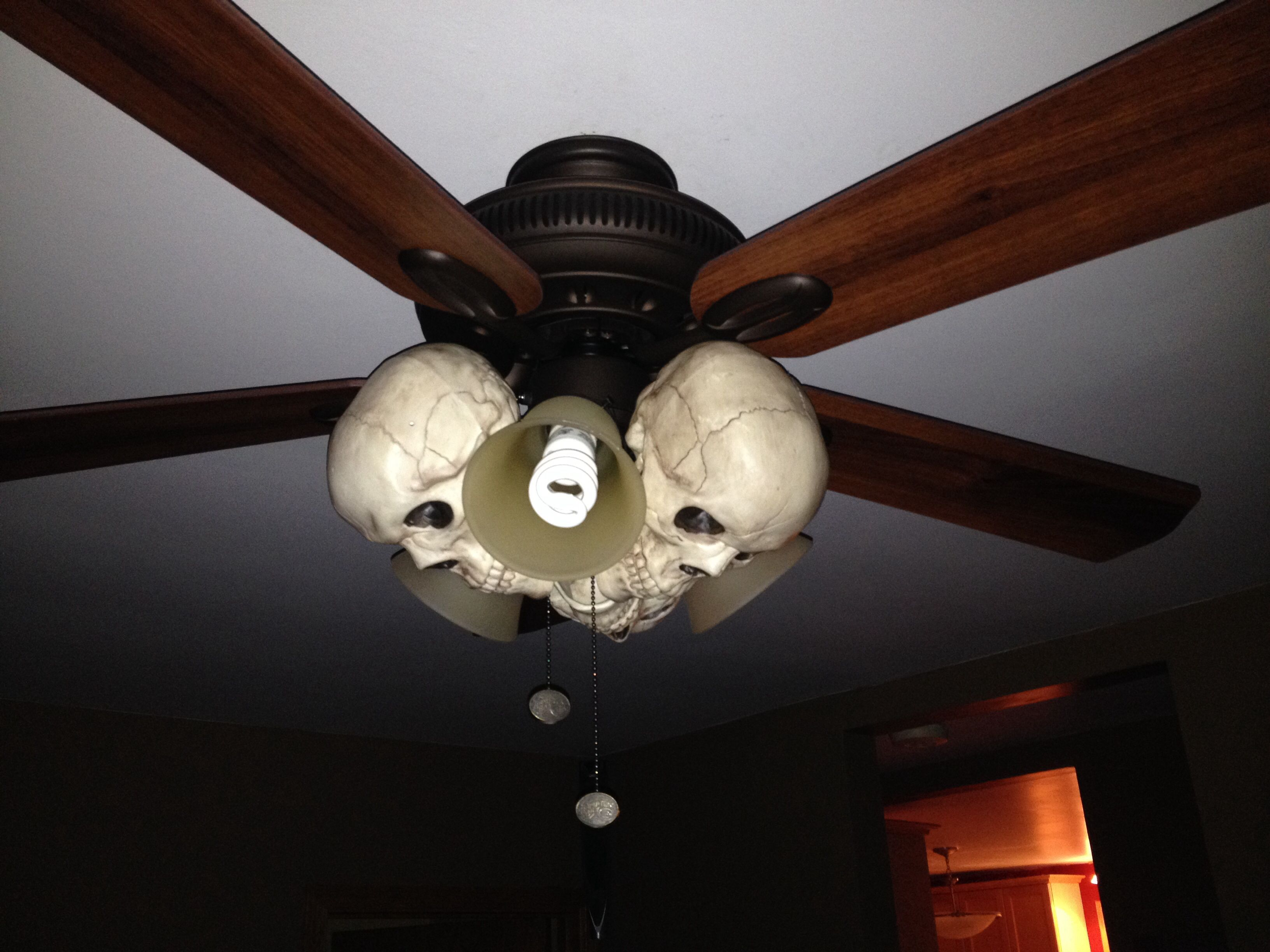 Easy way to decorate ceiling fan with 3 dollar store skulls