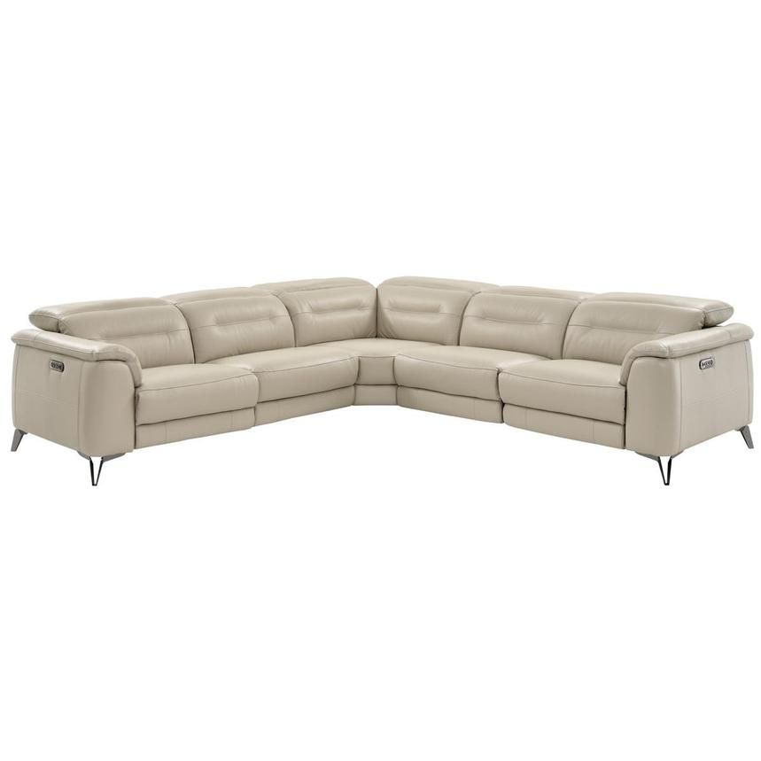 Anabel Cream Power Motion Leather Sofa W Right Left Recliners