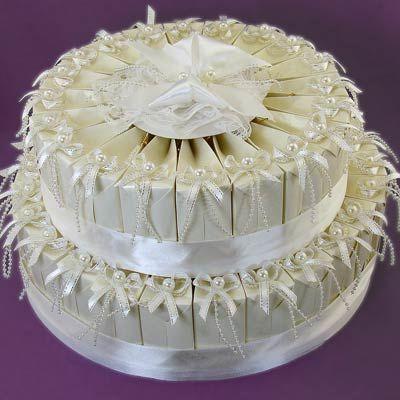 2 Tier Wedding Cake Favor Boxes Centerpiece (45 Favor Boxes)