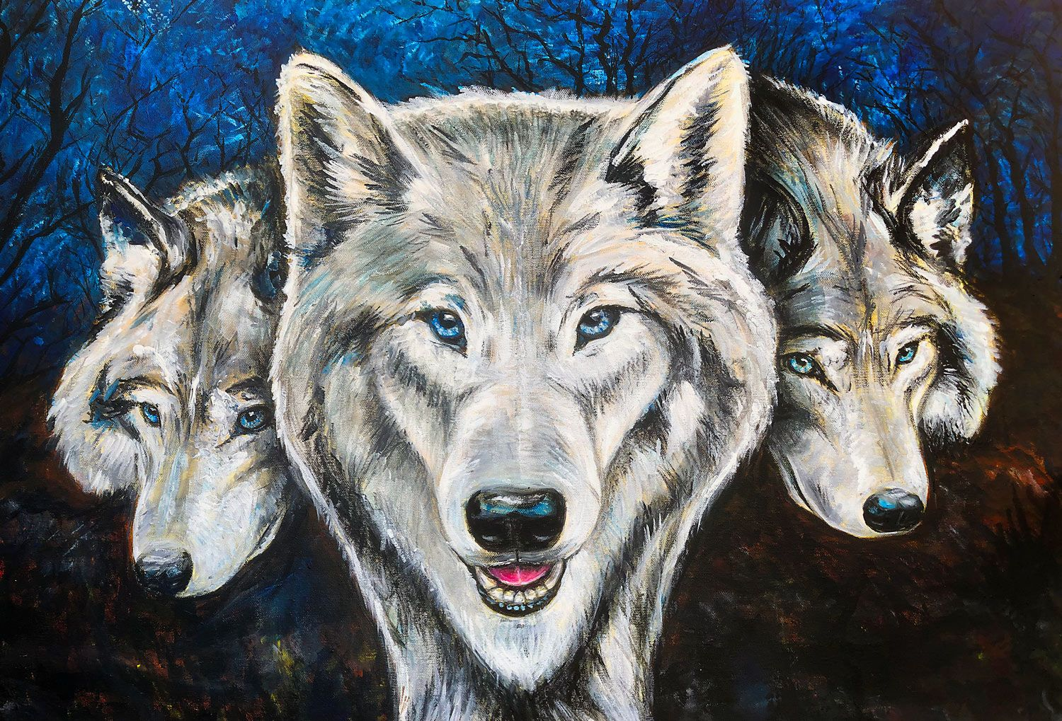 Mystic wolf pack a print from an original painting
